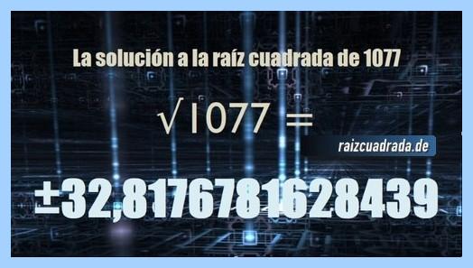 Solución finalmente hallada en la raíz del número 1077