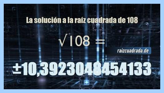 Número final de la operación matemática raíz de 108