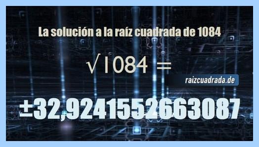 Solución obtenida en la resolución operación raíz de 1084