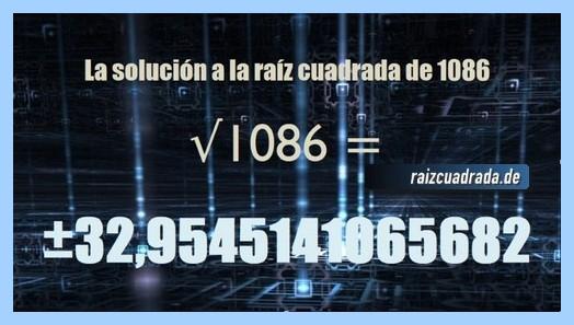 Solución conseguida en la raíz cuadrada de 1086