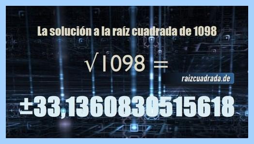 Solución final de la resolución operación matemática raíz cuadrada del número 1098