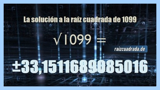 Solución que se obtiene en la raíz cuadrada de 1099