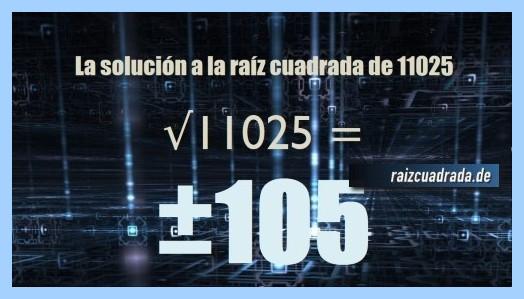 Solución obtenida en la resolución operación raíz cuadrada de 11025