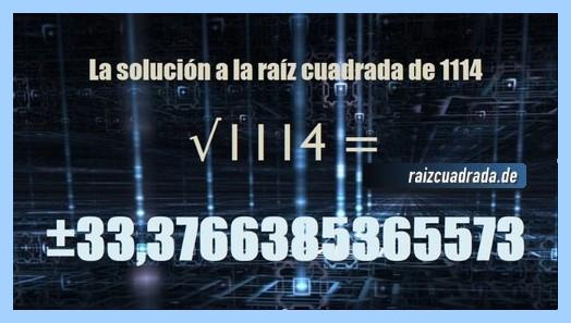 Solución que se obtiene en la raíz de 1114