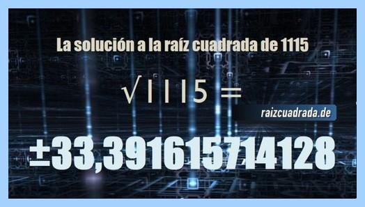 Resultado conseguido en la raíz del número 1115