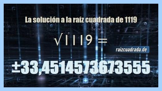 Solución conseguida en la resolución operación matemática raíz del número 1119
