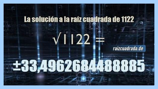 Solución finalmente hallada en la resolución operación matemática raíz del número 1122