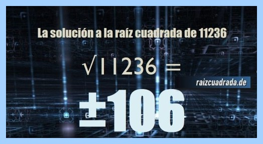 Solución obtenida en la resolución raíz cuadrada del número 11236