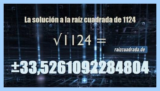 Resultado conseguido en la resolución operación matemática raíz de 1124