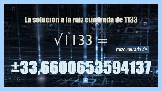 Solución que se obtiene en la raíz del número 1133