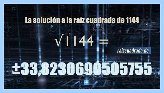 Resultado final de la operación matemática raíz de 1144