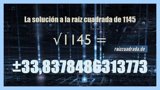 Resultado obtenido en la raíz cuadrada del número 1145