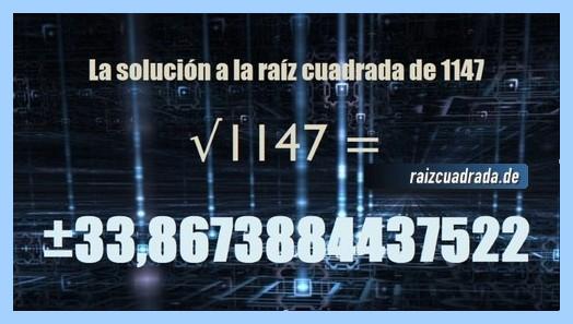 Solución que se obtiene en la raíz cuadrada del número 1147