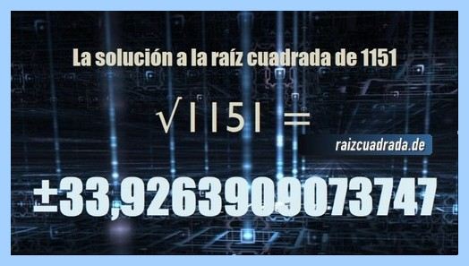 Solución conseguida en la raíz del número 1151