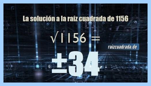 Solución que se obtiene en la operación matemática raíz de 1156