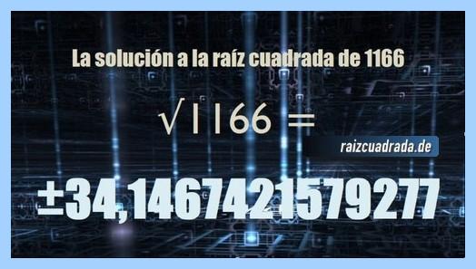 Solución final de la operación matemática raíz cuadrada del número 1166