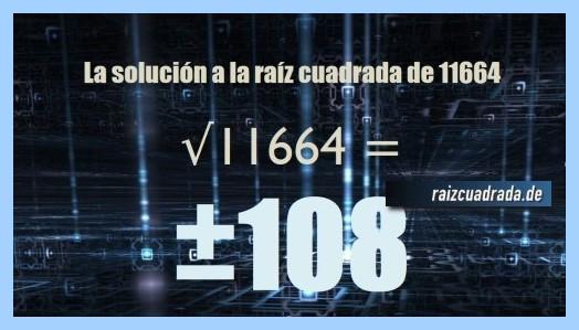 Solución final de la resolución operación matemática raíz del número 11664