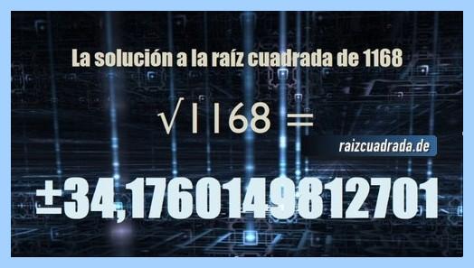 Solución obtenida en la raíz cuadrada de 1168