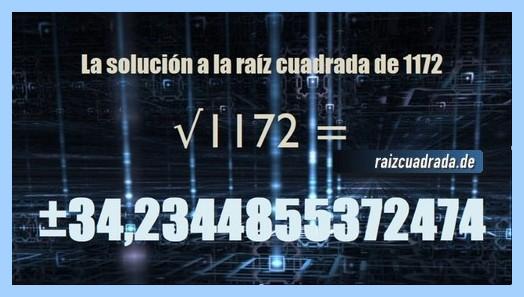 Resultado conseguido en la operación raíz cuadrada del número 1172