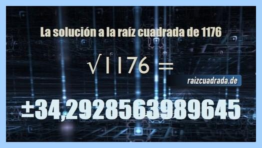 Solución obtenida en la operación raíz de 1176