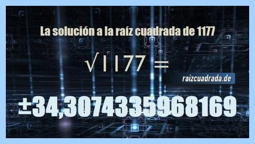 Solución que se obtiene en la operación matemática raíz cuadrada de 1177