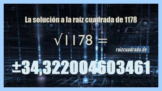 Número obtenido en la resolución raíz de 1178