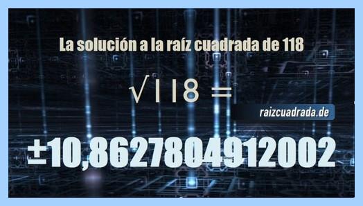 Solución finalmente hallada en la resolución raíz cuadrada del número 118