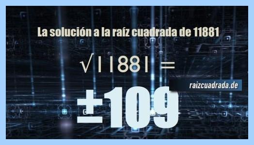 Solución finalmente hallada en la operación matemática raíz cuadrada de 11881
