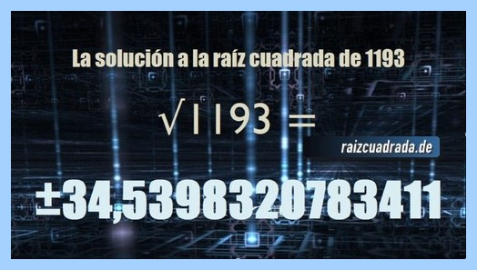 Solución finalmente hallada en la resolución raíz cuadrada del número 1193