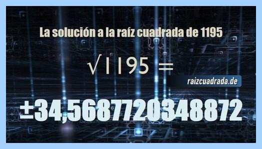 Solución conseguida en la raíz cuadrada del número 1195