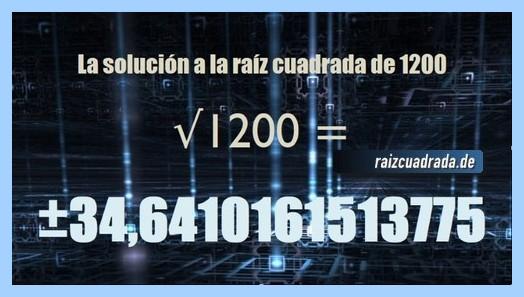 Número que se obtiene en la resolución operación matemática raíz cuadrada del número 1200