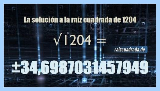 Solución conseguida en la raíz de 1204