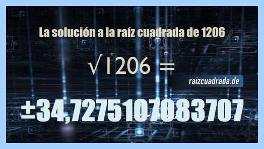 Solución conseguida en la raíz cuadrada de 1206