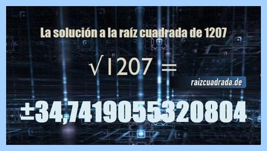 Número finalmente hallado en la raíz del número 1207