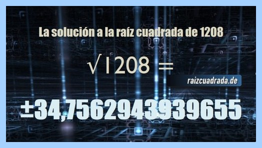 Número finalmente hallado en la operación matemática raíz cuadrada del número 1208