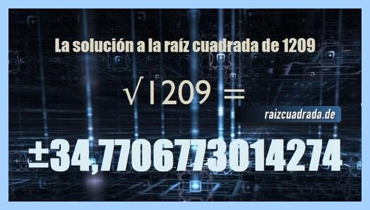 Resultado conseguido en la resolución operación matemática raíz cuadrada de 1209