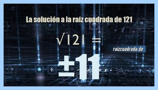 Solución conseguida en la resolución operación matemática raíz de 121