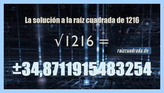 Solución final de la operación matemática raíz cuadrada de 1216