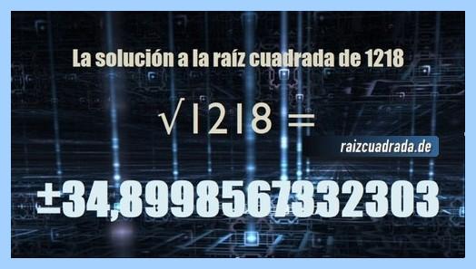 Número obtenido en la resolución raíz de 1218