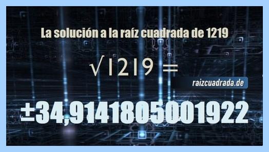 Número que se obtiene en la operación raíz de 1219