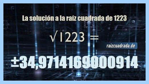Solución que se obtiene en la operación raíz cuadrada de 1223