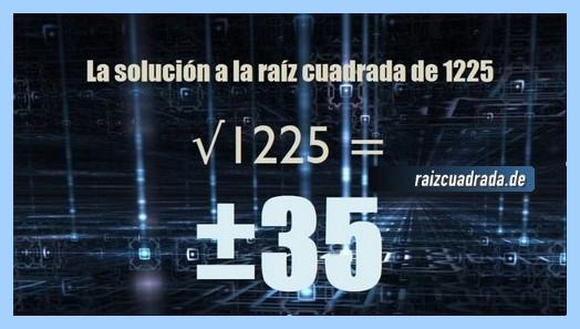 Solución que se obtiene en la resolución operación matemática raíz cuadrada de 1225