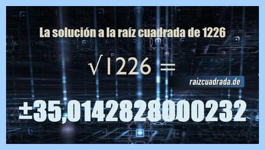 Número finalmente hallado en la resolución raíz de 1226