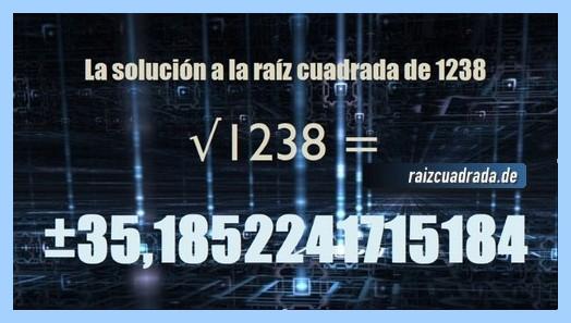 Resultado final de la resolución raíz cuadrada del número 1238