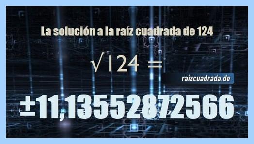 Solución final de la resolución raíz cuadrada del número 124