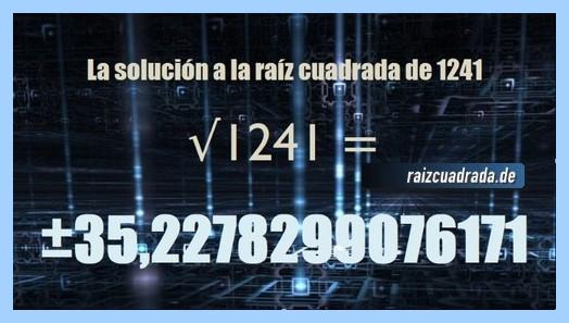 Resultado final de la resolución raíz cuadrada del número 1241
