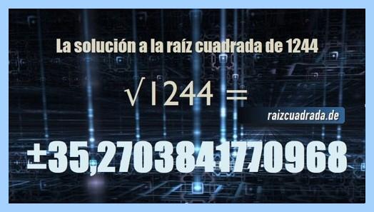 Solución obtenida en la raíz cuadrada de 1244