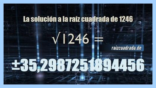 Número obtenido en la resolución operación matemática raíz de 1246