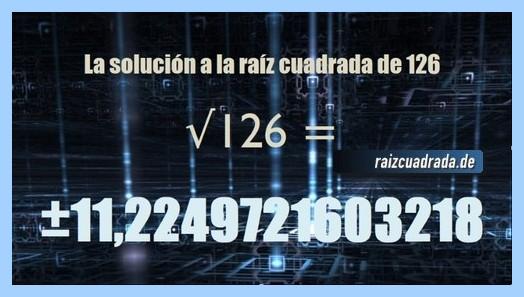 Solución obtenida en la raíz cuadrada de 126