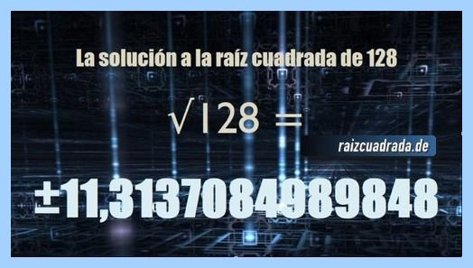 Solución finalmente hallada en la operación raíz del número 128